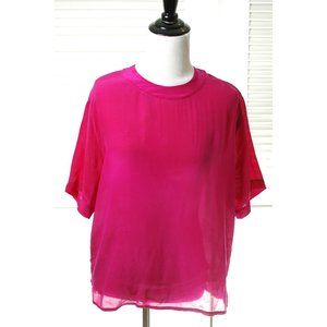 Vintage Pink Silk T Shirt Top Blouse Size M